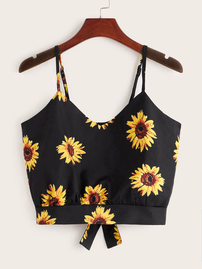 Sunflower Print Tie Back Cami Top