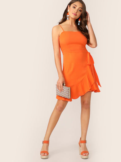 Neon Orange Ruffle Hem Wrap Slip Dress