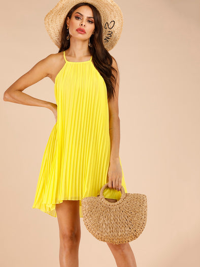 Pleated Asymmetrical Hem Cami Dress