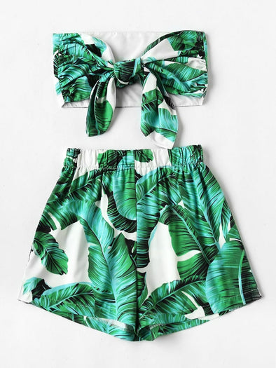 Plus Palm Tree Print Knot Tube Top With Shorts FS
