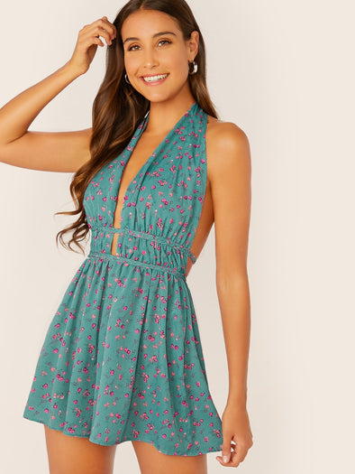Ditsy Floral Plunge Neck Backless Romper