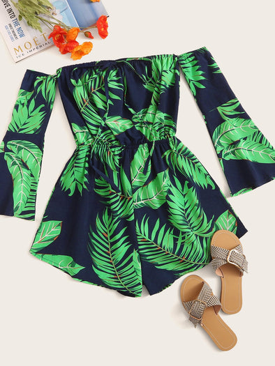 Tropical Tie Neck Off Shoulder Playsuit