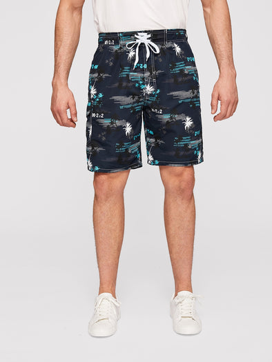Men Coconut Trees Print Lace Up Shorts