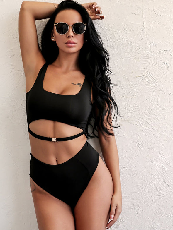 Joyfunear Buckle Detail Top With High Waist Bikini Set