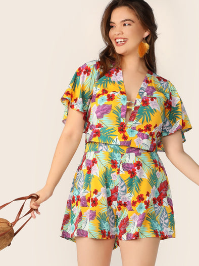 Plus Tropical Print Tie Back Top & Shorts Set