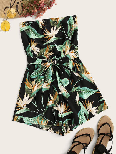 Tie Front Tropical Print Tube Romper
