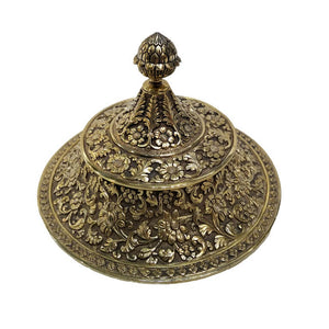 1870 Indian Kutch Style Antique English Silver Gilt Cup And Cover