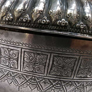 19th Century Antique Malay Silver Lidded Water Container