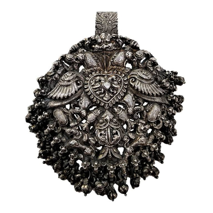 Antique Indian Silver Chatelaine Hanger, Temple Style, Trichinopoly (tiruchirappalli), India C. 1880