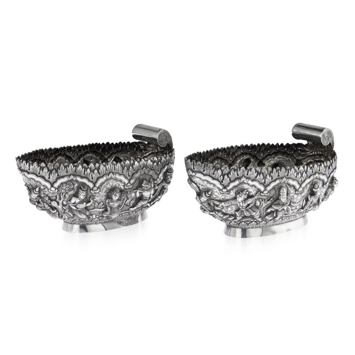 A Pair, Antique Burmese Silver Sweetmeat Dishes - Circa 1870