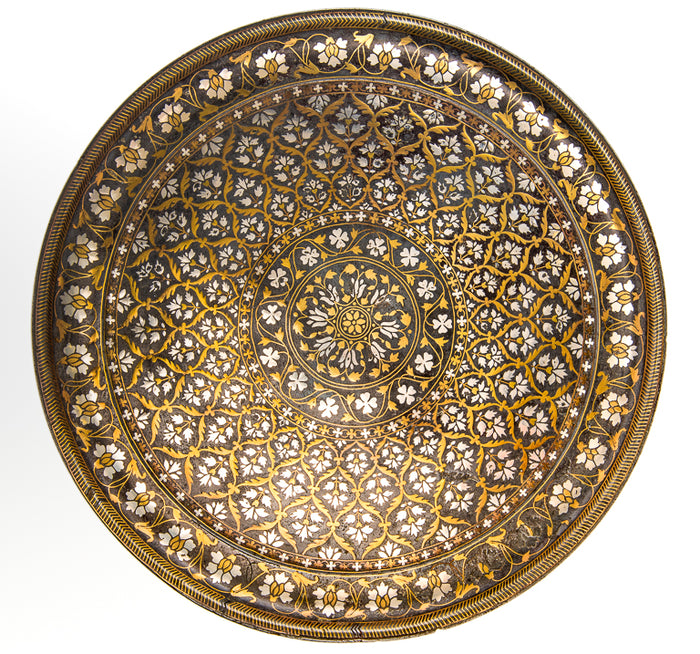 Antique Indian Bidriware Salver (thali), Silver And Brass Inlay, Deccan, India – 18th Century
