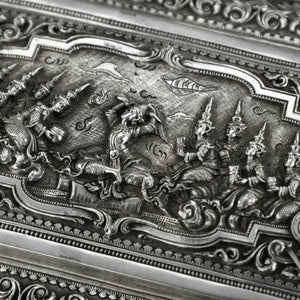 Antique Burmese Silver Figural Table Box, Lower Burma (Myanmar)  -  Mid 19th Century