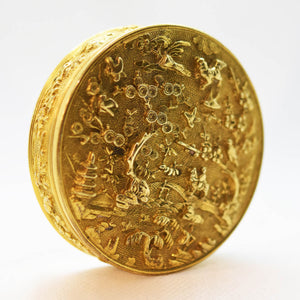 Antique Chinese Gilded Copper Circular Lidded Box, China – 17th Century