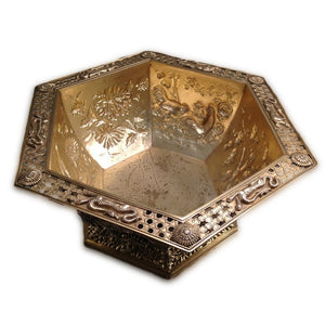 Antique English Silver Gilt Bowl Hexagonal In The Oriental Style London 1910