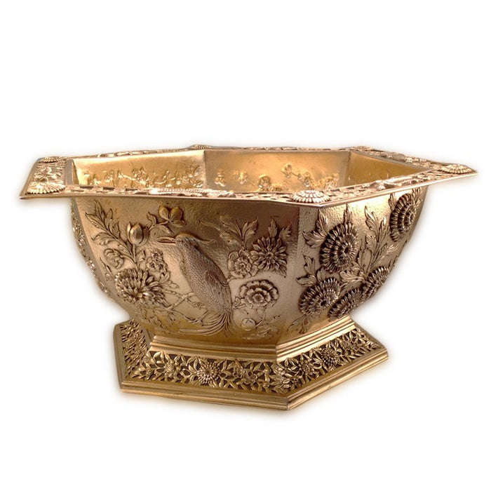 Antique English Silver-Gilt Bowl, Hexagonal, In The Oriental Style, London, England – 1910