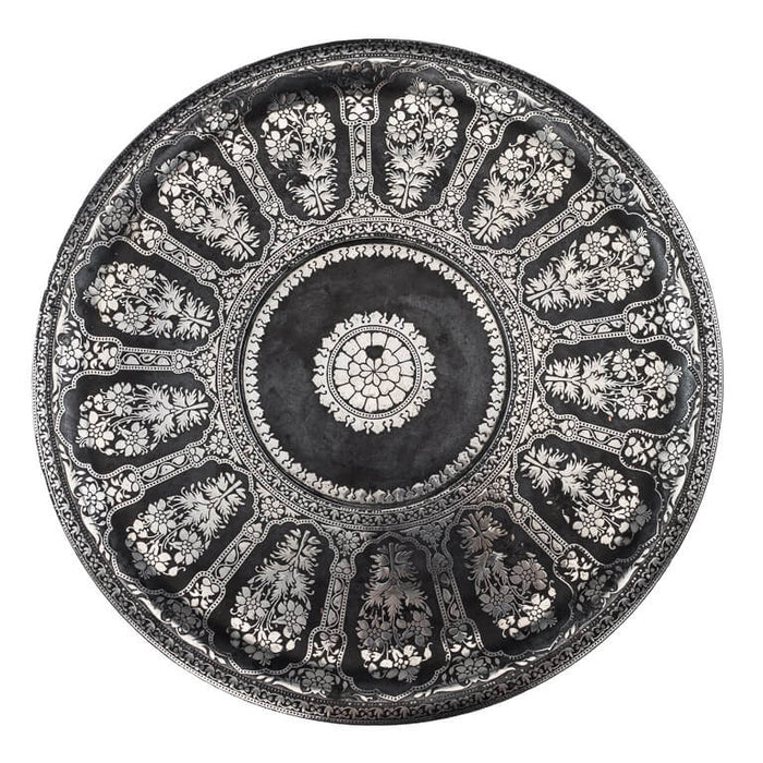 Antique Indian Bidri Footed Salver, Silver Inlay, Deccan, India – Late 17th/early 18th Century