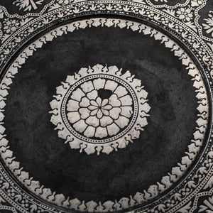 Antique Indian Bidri Footed Salver Silver Inlay India Late 17th early 18th Century