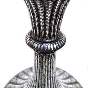 Antique Indian Bidri Hookahhuqqa Fluted Silver Inlay Deccan India 1800 1825