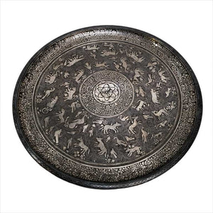 Antique Indian Bidri Platter Tray Silver Inlay Hindu Figural Design Rajasthan India 1800-1850