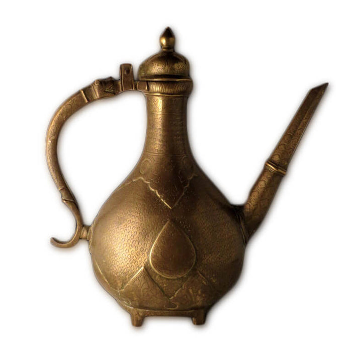 Antique Indian Ewer (aftaba), Cast Brass, Mughal India – 18th Century