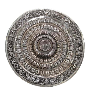 Antique Indian Silver Lotus Plate Decorative Northern India–Early 20th Century