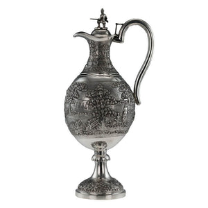 Antique Indian Silver Presentation Claret Jug Military Interest Calcutta Kolkata India Circa 1900