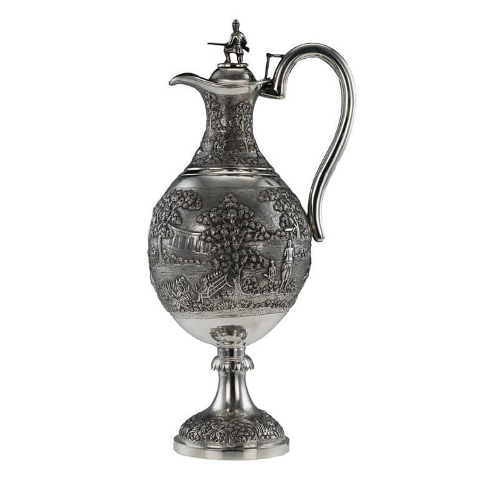 Antique Indian Silver Presentation Claret Jug, Military Interest, Calcutta (Kolkata), India – Circa 1900
