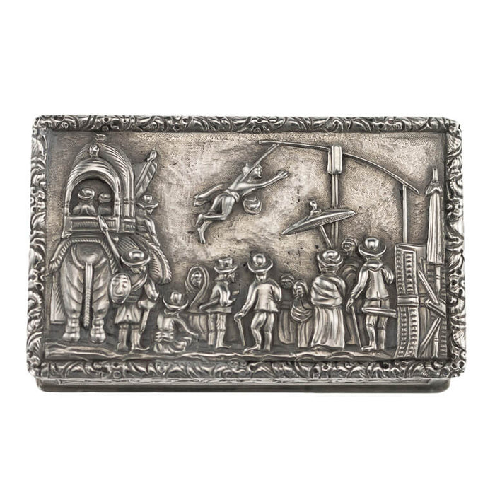Antique Indian Silver Snuff Box, Charak Puja/hook Swinging Festival, Calcutta (kolkata) – 1800/50