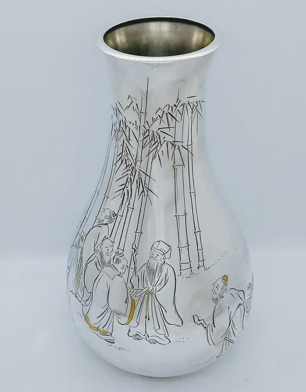 Antique Japanese Silver & Gold Vase, Large & Signed, Mitsukoshi Japan – Meiji C.1910