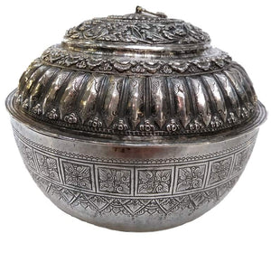 Antique Malay Silver Lidded Water Container Batil