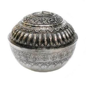 Antique Malay Silver Lidded Water Container Malaysia 19th Century