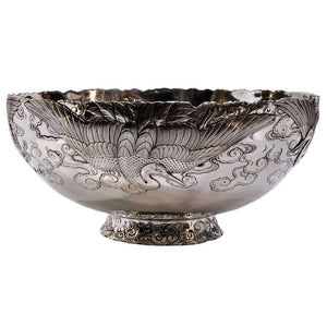 Antique Silver And Gold Mixed Metal Bowl Japan Meiji Period Circa 1900