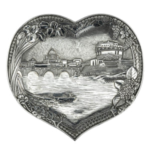 Antique Indian Silver Heart Shaped Dish, O.M Bhuj, Kutch (Gujerat), India  -  Circa 1900