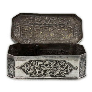 Antique Sumatran Silver Box Applied Gold Indonesia Sumatra 18th Century