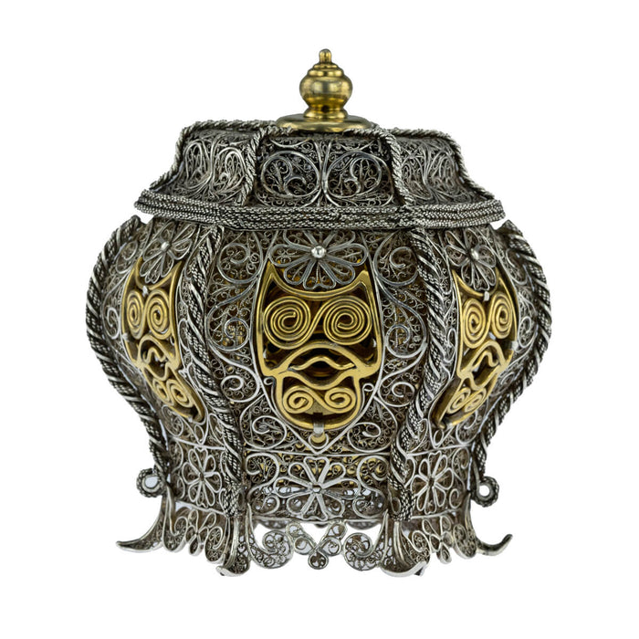 Antique Sumatran Silver Parcel Gilt Betel Container, Sumatra, Indonesia  -  18th Century