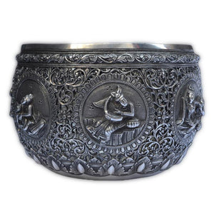 Antique Burmese Silver Bowl, Pierced Design - 19th Century