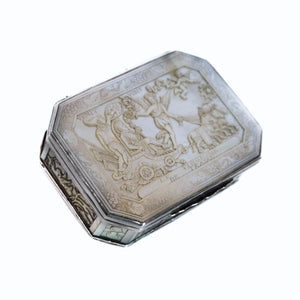 Antique Silver and Cantonese MOP Snuff Box - China, Qing Dynasty - Circa 1810
