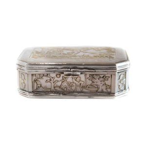 Antique Silver and Cantonese MOP Snuff Box - Depicting Napoleon As Emperor Trajan