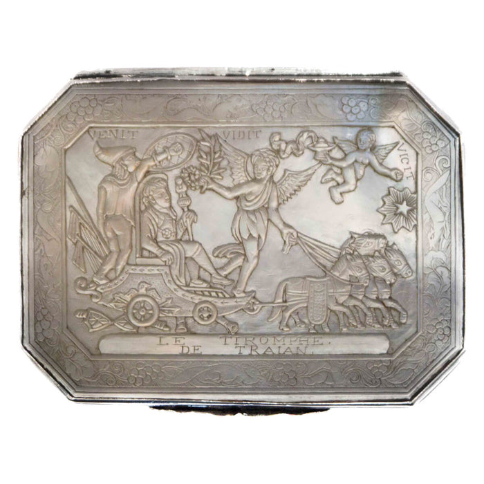 Antique Silver & M.O.P. Snuff Box Depicting Napoleon, China 1810
