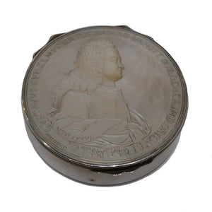 Antique Silver & M.o.p. Snuff Box, V.o.c., Willem Van Imhoff, Medallist Holtzhey, Batavia Or Holland – 1742