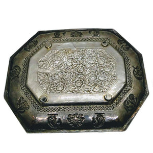 Circa 1740 Indian Antique Silver Tray Mughal India