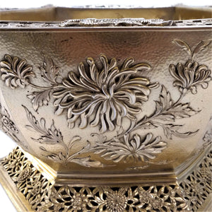 Gilt Bowl Antique Silver Hexagonal In The Oriental Style London England 1910