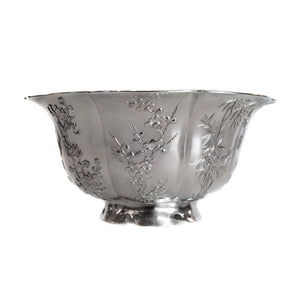 Antique Chinese Export Silver Bowl, Matte Silver Exterior & Gilded Interior, Wang Hing, Hong Kong Or China – Circa 1910