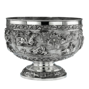 Antique Indian Silver Pedestal Rose Bowl, Lucknow, India  -  1876 to 1910