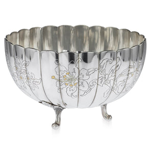 Japanese Silver and Gold Bowl, Mitsukoshi, Japan  -  Taisho, Early 20th Century