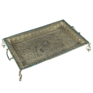 Antique Mughal Silver Gilt Betel Pandan Tray, Turquoise Stones, Signature, India – 1750