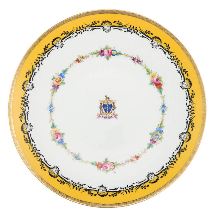 Mintons China Dessert Plates, Coat of Arms, Maharaja of Rajpipla, England – circa 1921 (Set of 16)