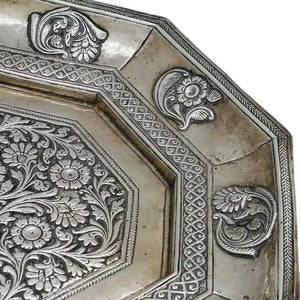Mughal Antique Indian Silver Tray India Circa 1740