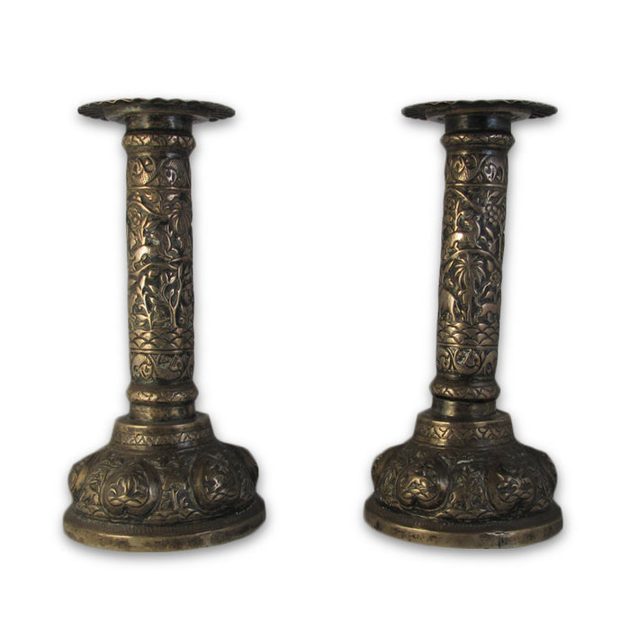 Antique Indian Silver Candlesticks, A Pair, Lucknow – 1890