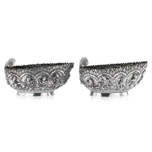 Other Side View Of Burmese Silver Sweetmeat Dishes Circa 1870